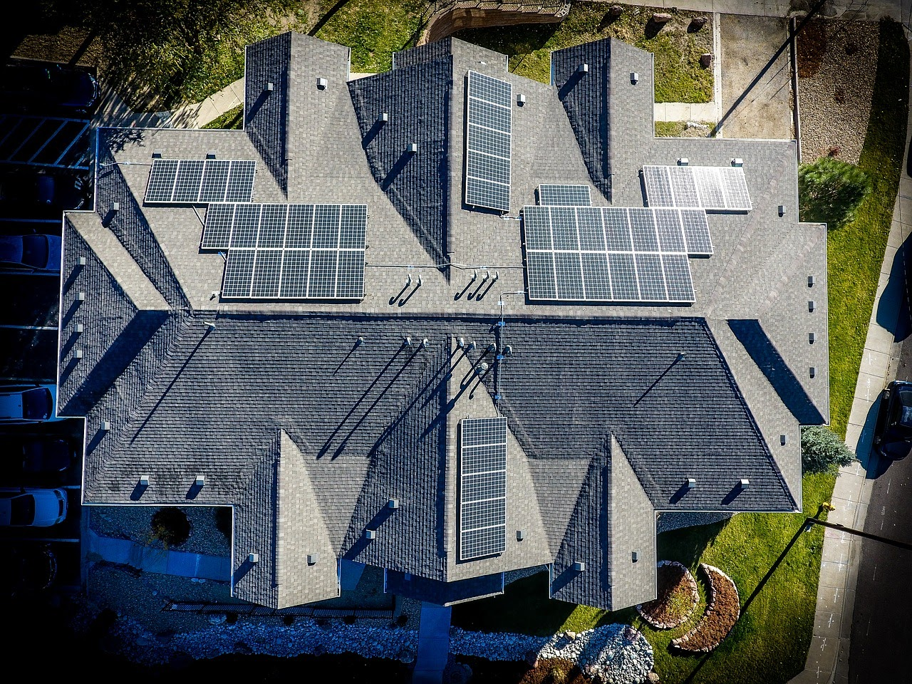 Roof solar drone view